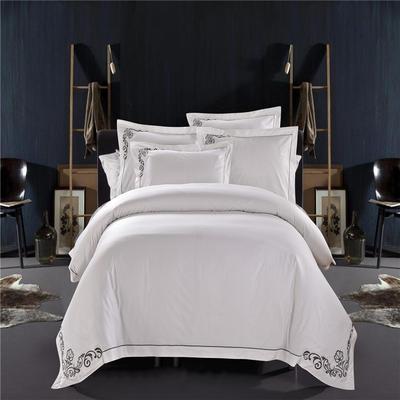 2019新款纯棉绣花款-酒店,宾馆风套件60支全棉四件套 1.2m 皇家风范-灰