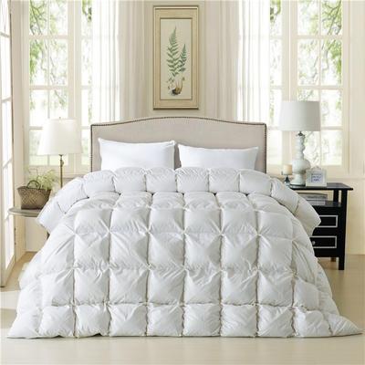 2019新款法式全棉面包被羽绒被95%白鹅绒被 200*230白鸭绒5.6斤 白色