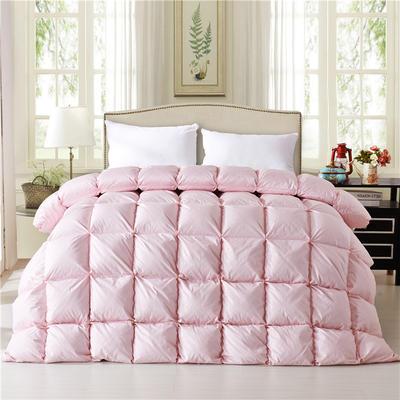 2019新款法式全棉面包被羽绒被95%白鹅绒被 200*230白鸭绒5.6斤 粉色