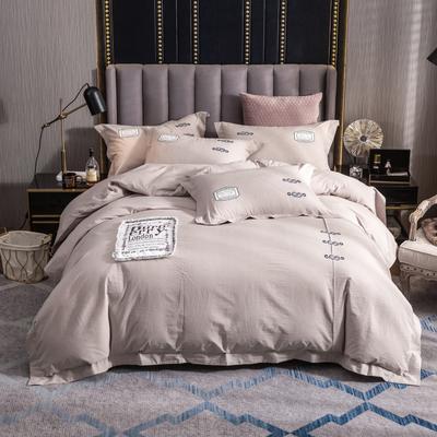 2019新款60支酒店宾馆套件民宿家用色织水洗全棉四件套 1.5m-1.8m床单款 胭脂扣-卡其色