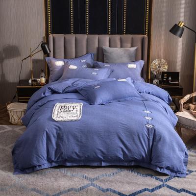 2019新款60支酒店賓館套件民宿家用色織水洗全棉四件套 1.5m-1.8m床單款 胭脂扣-藍