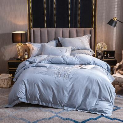 2019新款60支酒店宾馆套件民宿家用色织水洗全棉四件套 1.5m-1.8m床单款 飘絮