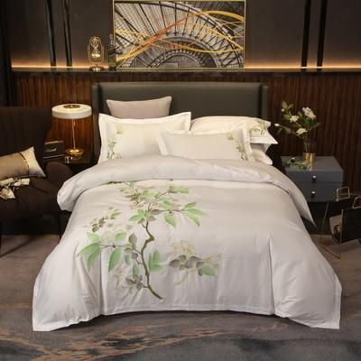2019新款60貢緞全棉四件套刺繡賓館套件酒店民宿家用-麗本 1.5m-1.8m床單款 麗本