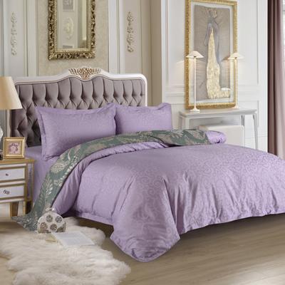 2020新款全棉賓館60支貢緞提花酒店四件套 1.5m(5英尺)床單款 紫媚