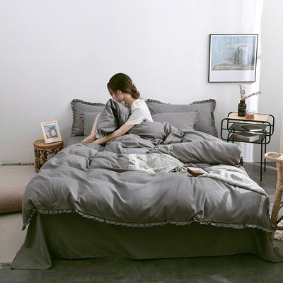 2019款韓版公主風花邊素色牛油果綠床單床笠四件套學生被罩宿舍床單人三件套 1.2m床單款三件套 氣質灰