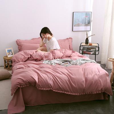2019款韓版公主風花邊素色牛油果綠床單床笠四件套學生被罩宿舍床單人三件套 1.2m床單款三件套 櫻花粉