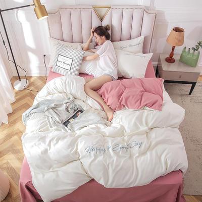 2019新款純色繡花款四件套 1.2m床單款三件套 山茶白櫻花粉