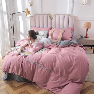 2019新款純色繡花款四件套 1.2m床單款三件套 櫻花粉氣質灰