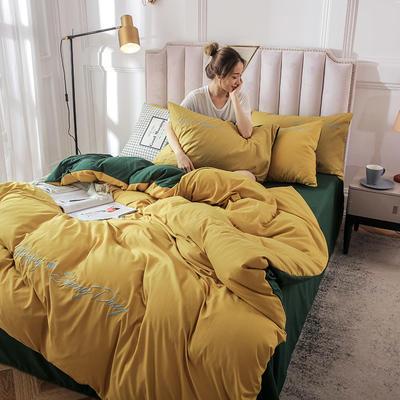 2019新款純色繡花款四件套 1.2m床單款三件套 山楊黃墨綠