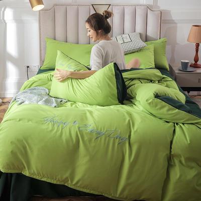 2019新款纯色绣花款四件套 1.2m床单款三件套 抹茶绿墨绿