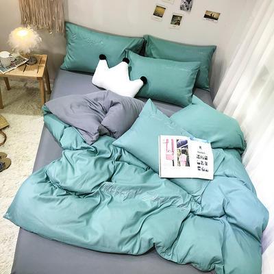 2019新款纯色绣花款四件套(实拍图) 1.2m床单款三件套 蒂芙尼绿+气质灰