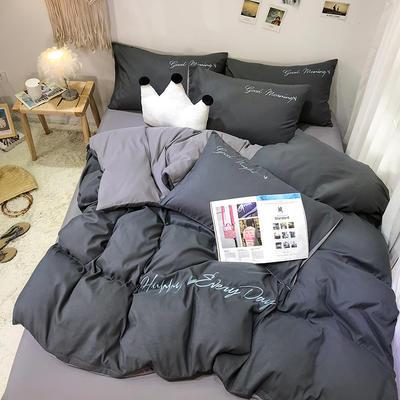 2019新款纯色绣花款四件套(实拍图) 1.2m床单款三件套 高级灰+气质灰