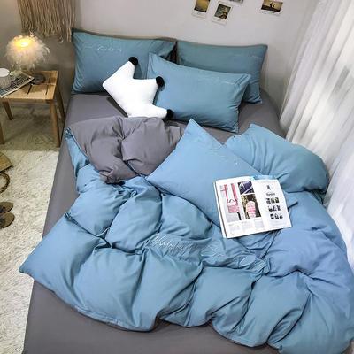 2019新款純色繡花款四件套(實拍圖) 1.2m床單款三件套 馬卡龍藍+氣質灰