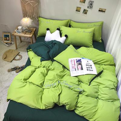 2019新款純色繡花款四件套(實拍圖) 1.2m床單款三件套 抹茶綠+墨綠