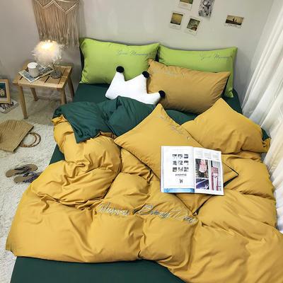 2019新款纯色绣花款四件套(实拍图) 1.2m床单款三件套 山杨黄+墨绿