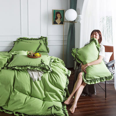 2020新款公主風蕾絲蝴蝶結花邊四件套 1.2m床單款三件套 5草木綠