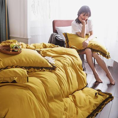 2020新款公主風蕾絲蝴蝶結花邊四件套 1.2m床單款三件套 8芥末黃