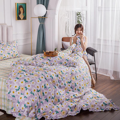 2020新款公主风花边印花四件套 1.2m床单款三件套 3紫色浪漫-花边款