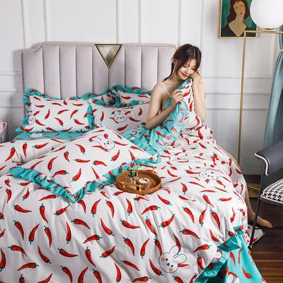 2020新款公主风花边印花四件套 1.2m床单款三件套 6小辣椒-花边款