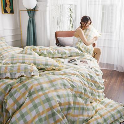2020新款公主风花边印花四件套 1.2m床单款三件套 7苹果绿格-花边款