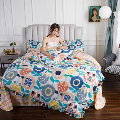 2020新款公主风花边印花四件套 1.2m床单款三件套 8陌上花开-花边款