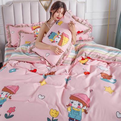 2020新款公主风花边印花四件套 1.2m床单款三件套 9甜甜宝贝-花边款