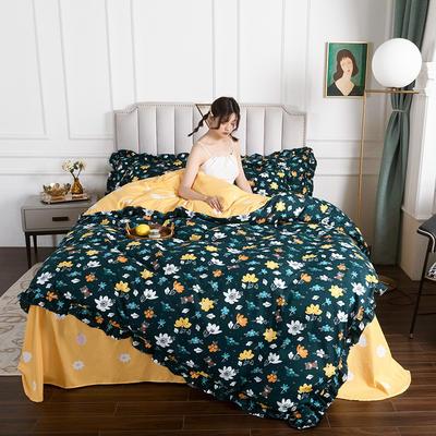2020新款公主风花边印花四件套 1.2m床单款三件套 16花海浪语-花边款