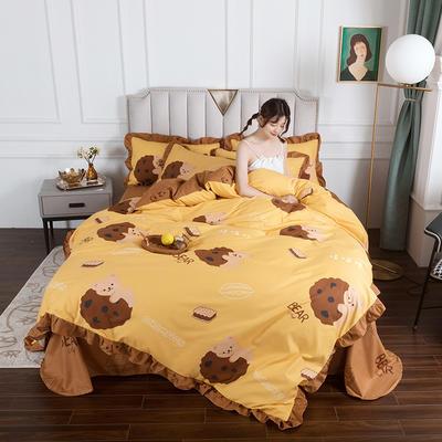 2020新款公主风花边印花四件套 1.2m床单款三件套 20小熊甜心-花边款