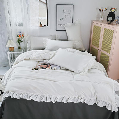 2020新款洛可可纯色花边系列床裙款四件套 1.2m床单款三件套 洛可可系列-纯情白+灰
