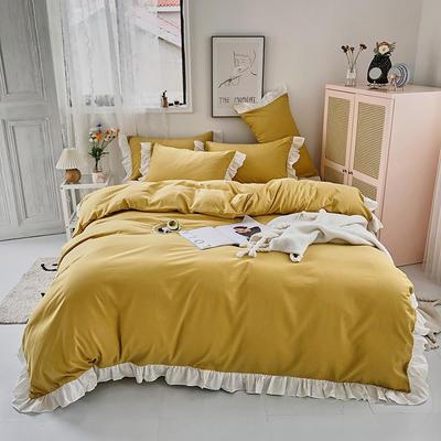 2020新款洛可可纯色花边系列床裙款四件套 1.2m床单款三件套 洛可可系列-迷人黄