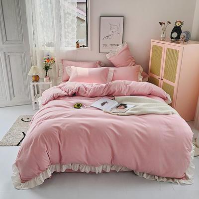 2020新款洛可可纯色花边系列床裙款四件套 1.2m床单款三件套 洛可可系列-少女粉