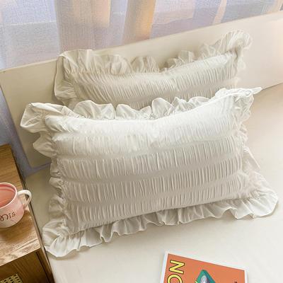 2021新款纯色泡泡纱枕套 48X74cm枕套一对 纯净白