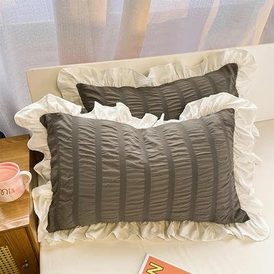 2021新款纯色泡泡纱枕套 48X74cm枕套一对 高级灰