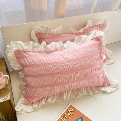 2021新款纯色泡泡纱枕套 48X74cm枕套一对 公主粉