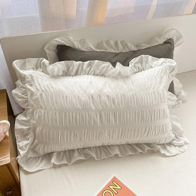 2021新款纯色泡泡纱枕套 48X74cm枕套一对 纯净白+高级灰