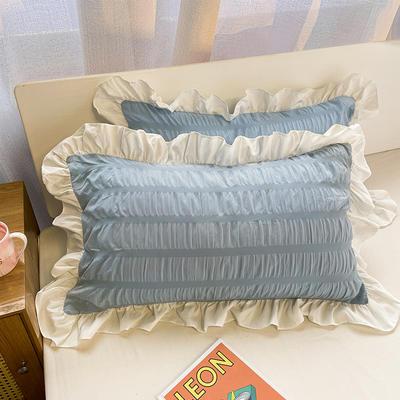 2021新款纯色泡泡纱枕套 48X74cm枕套一对 夏沫蓝
