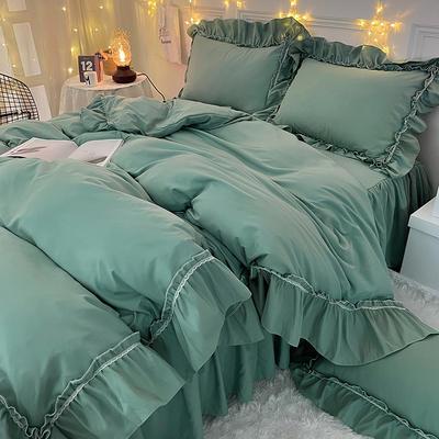 2021新款简爱纯色大花边系列四件套 被套1.5*2床裙1.5*2四件套 简爱-芒果酸奶绿