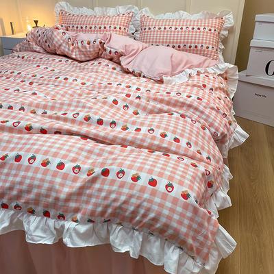 2021新款条纹格子花边系列四件套 被套1.5*2.0床单2.3*2.3四件套 草莓芝芝-花边款