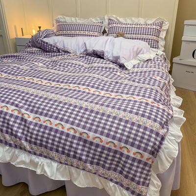 2021新款条纹格子花边系列四件套 被套1.5*2.0床单2.3*2.3四件套 玛丽露露-花边款