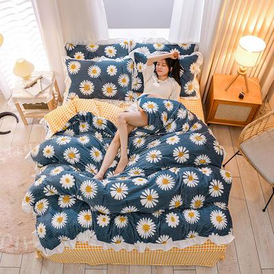 2020新款-魔法绒四件套花边 1.5m床单款四件套 向阳花开