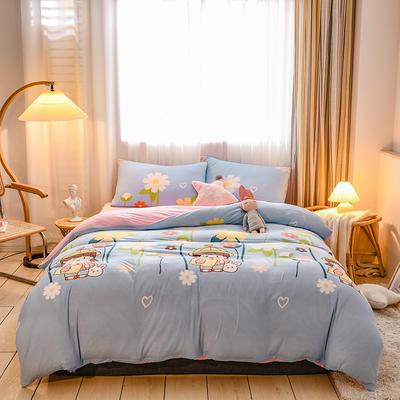2020新品-针织棉四件套 1.5m床单款四件套 快乐女孩