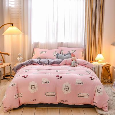 2020新品-针织棉四件套 1.5m床单款四件套 猫咪星语