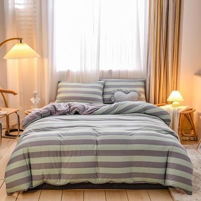 2020新品-针织棉四件套 1.5m床单款四件套 似水柔情蓝