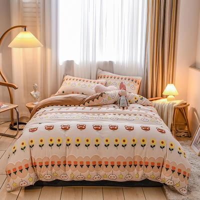 2020新品-针织棉四件套 1.5m床单款四件套 甜蜜微笑