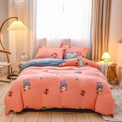 2020新品-针织棉四件套 1.5m床单款四件套 兔兔女生