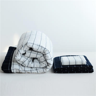2019全棉色织水洗棉夏被单品夏被三件套夏被四件套日式良品风格空调被夏被 120cmx150cm夏被 初秋格