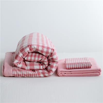 2019全棉色织水洗棉夏被单品夏被三件套夏被四件套日式良品风格空调被夏被 120cmx150cm夏被 粉渐格