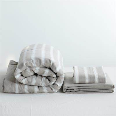 2019全棉色织水洗棉夏被单品夏被三件套夏被四件套日式良品风格空调被夏被 120cmx150cm夏被 卡其宽条