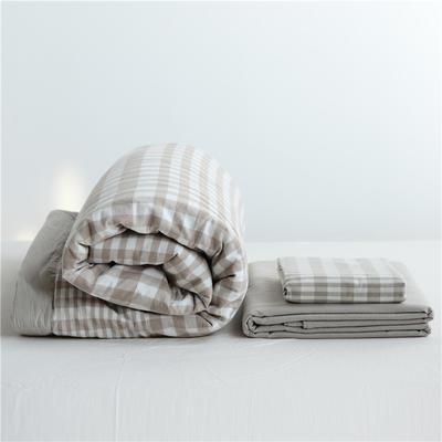 2019全棉色织水洗棉夏被单品夏被三件套夏被四件套日式良品风格空调被夏被 120cmx150cm夏被 米渐格
