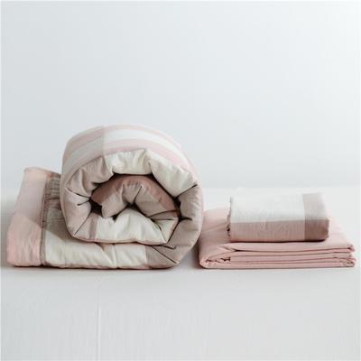 2019全棉色织水洗棉夏被单品夏被三件套夏被四件套日式良品风格空调被夏被 120cmx150cm夏被 蜜粉大格